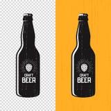 Progettazione strutturata dell'etichetta della bottiglia di birra del mestiere Logo di vettore, emblema, ty illustrazione vettoriale