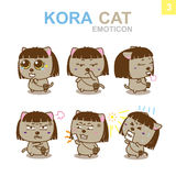 Progettazione sveglia dell'emoticon - Cat Set Fotografie Stock