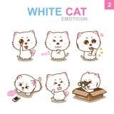 Progettazione sveglia dell'emoticon - Cat Set Fotografia Stock
