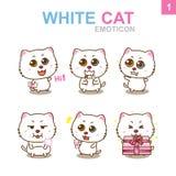 Progettazione sveglia dell'emoticon - Cat Set Fotografie Stock Libere da Diritti