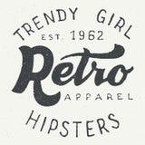 Progettazione tipografica della retro etichetta dell'abito illustrazione vettoriale