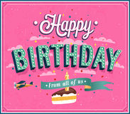 Progettazione tipografica di buon compleanno. Fotografie Stock
