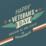Progettazione tipografica di giornata dei veterani felice illustrazione vettoriale