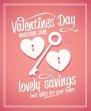 Progettazione tipografica di vendita massiccia di giorno del ` s del biglietto di S. Valentino. Immagini Stock