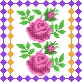 Progettazione trasversale di Rose Floral del ricamo del punto per struttura senza cuciture del modello Immagini Stock