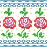 Progettazione trasversale di Rose Floral del ricamo del punto per struttura senza cuciture del modello Fotografia Stock