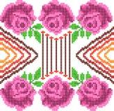 Progettazione trasversale di Rose Floral del ricamo del punto per struttura senza cuciture del modello illustrazione di stock