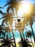 Progettazione tropicale delle palme per la carta di testo Fondo di estate Fotografia Stock