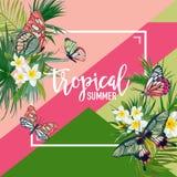 Progettazione tropicale di estate dei fiori con le farfalle esotiche watercolor Immagini Stock