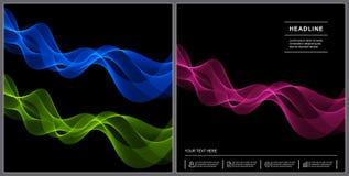 Progettazione universale della copertura con le linee rosa, verdi, blu di Wave su Blac Fotografia Stock Libera da Diritti