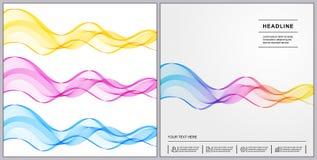Progettazione universale delle coperture con le linee di Wave di pendenza su Backgr bianco Fotografia Stock