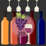 Progettazione variopinta con le bottiglie ed i vetri Fotografia Stock