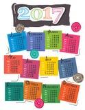 Progettazione variopinta del calendario 2017/Paisley illustrazione vettoriale