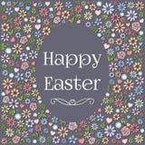 Progettazione variopinta del fiore di forma dell'uovo di Pasqua Fotografia Stock Libera da Diritti
