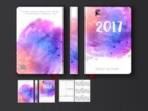 Progettazione variopinta della copertura del diario per 2017 Immagini Stock Libere da Diritti