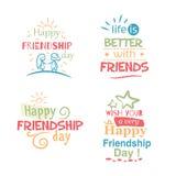 Progettazione variopinta tipografica di amicizia di vettore felice di giorno Fotografia Stock Libera da Diritti