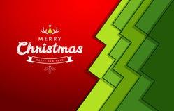 Progettazione verde di carta dell'albero di sovrapposizione di Buon Natale Immagine Stock
