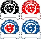Progettazione veterinaria delle etichette del cerchio Insieme dell'accumulazione Immagini Stock