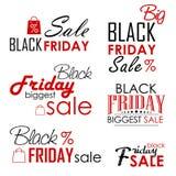 Progettazioni calligrafiche di vendita di Black Friday fissate sopra Fotografia Stock Libera da Diritti