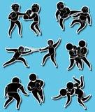 Progettazioni dell'autoadesivo per le arti marziali differenti royalty illustrazione gratis