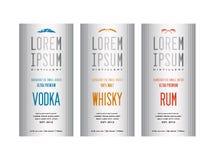 Progettazioni dell'etichetta della bottiglia del liquore illustrazione di stock