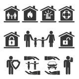 Progettazioni dell'icona di assicurazione automatica e della casa di famiglia Fotografia Stock