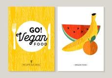 Progettazioni dell'illustrazione dell'alimento del vegano per il cibo sano Immagine Stock Libera da Diritti