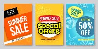 Progettazioni dell'insegna di web di vettore di vendita di estate ed offerte speciali illustrazione vettoriale