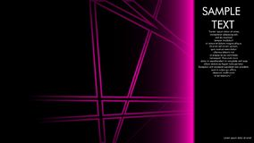 progettazioni della copertina di libro, riviste, opuscoli, ecc con la linea rosa concetto e fondo nero ed esempi di scrittura acc illustrazione vettoriale