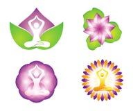 Progettazioni di logo del loto lilly e di meditazione illustrazione di stock