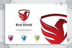 Progettazioni di logo di vettore di tecnologia di Eagle Shield con il concetto moderno di stile, illustrazione astratta dello sch immagini stock libere da diritti