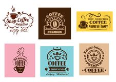 Progettazioni grafiche dell'etichetta creativa del caffè Fotografia Stock