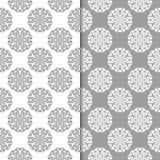 Progettazioni ornamentali floreali bianche e grige Insieme dei reticoli senza giunte Fotografie Stock Libere da Diritti