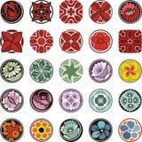 Progettazioni ornamentali floreali del cerchio fissate Fotografia Stock Libera da Diritti