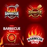 Progettazioni variopinte del manifesto del BBQ 4, progettazione del partito, invito, progettazione dell'annuncio Logo del barbecu Fotografia Stock Libera da Diritti