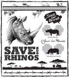 Conservi i nostri Rhinos Immagine Stock Libera da Diritti