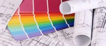 Progetti delle case con la tavolozza di colore Fotografie Stock Libere da Diritti