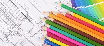 Progetti delle case con la tavolozza di colore Immagini Stock