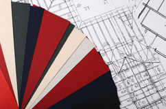 Progetti delle case con la tavolozza di colore Fotografia Stock Libera da Diritti