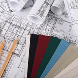Progetti delle case con la tavolozza di colore Fotografia Stock