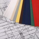 Progetti delle case con la tavolozza di colore Fotografie Stock