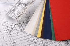 Progetti delle case con la tavolozza di colore Immagine Stock