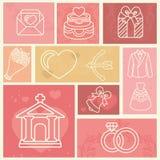 Progetti gli elementi con la cerimonia nuziale ed ami le icone Fotografia Stock Libera da Diritti