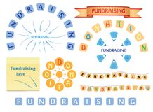 Progetti gli elementi per raccogliersi fondi e donazione - insieme di vettore Fotografia Stock