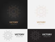 Progetti i modelli nei colori neri, grigi e dorati Logo creativo della mandala, icona, emblema, simbolo Immagine Stock Libera da Diritti