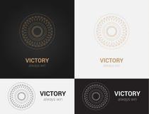 Progetti i modelli nei colori neri, grigi e dorati Logo creativo della mandala, icona, emblema, simbolo Immagine Stock