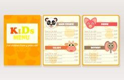 Progetti il menu dei bambini del campione per i caffè, ristoranti Immagine Stock
