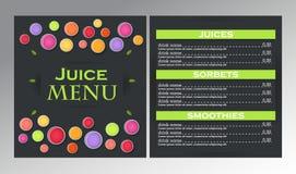 Progetti il menu del succo del campione per i caffè, i ristoranti, barre Immagini Stock Libere da Diritti