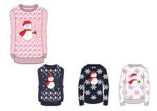 Progetti il modello del maglione di Natale delle ragazze in calibro pesante Immagini Stock Libere da Diritti