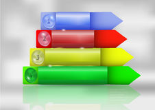 Progetti il modello graduale di infographics con i bottoni e le frecce Fotografia Stock